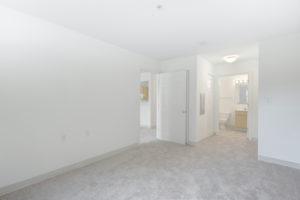 bright carpeted bedroom facing bathroom