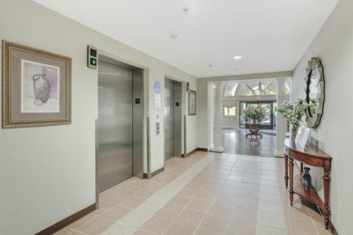 bright entryway with elevators